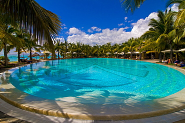 Swimming pool of the Beachcomber Le Paradis five star hotel, Mauritius, Indian Ocean, Africa