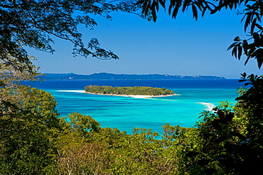 View from the island of Nosy Iranja to its little sister island near Nosy Be, Madagascar, Indian Ocean, Africa
