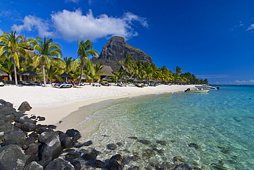 White sand beach of the five star hotel Le Paradis, with Le Morne Brabant in the background, Mauritius, Indian Ocean, Africa