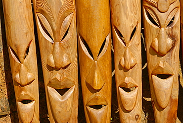 Wooden carved heads for sale, Nosy Be, Madagascar, Africa