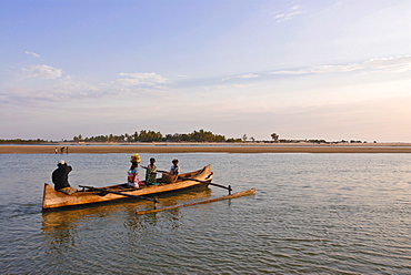 Little canoe crossing a chanel at Morondava, Madagascar, Indian Ocean, Africa