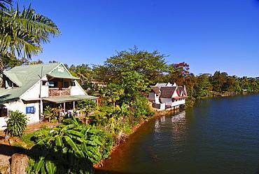 Restaurant along the Manakara River, part of the Pangalanes canal system, Manakara, Madagascar, Africa