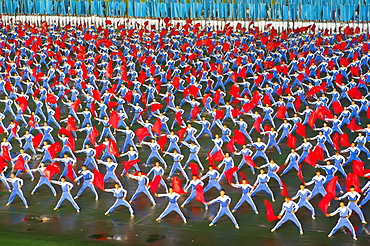 Dancers and acrobats at the Arirang festival, Mass games in Pyongyang, North Korea, Asia
