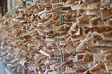 Money for luck from pilgrims inside the Kumbum, literally one hundred thousand images, of the Palcho Monastery, the largest chorten in Tibet, Gyantse, China, Asia