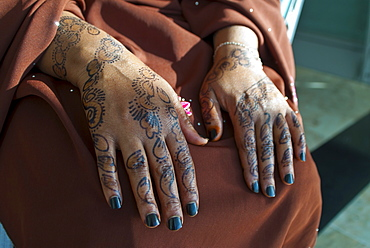 Somali woman's hands covered in henna tattoos, Addis Ababa, Ethiopia, Africa