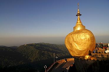 Kyaiktiyo Pagoda known as Golden Rock on top of Mount Kyaiktiyo, Myanmar, Asia