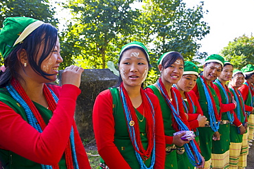 Traditionally dressed girls from the Hillmiri tribe near Daporjio, Arunachal Pradesh, Northeast India, India, Asia