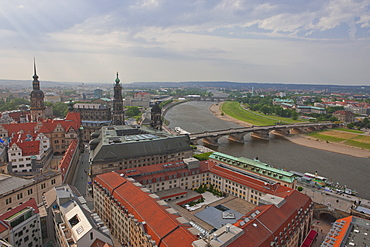 View over city and the River Elbe, Dresden, Saxony, Germany, Europe