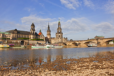 Cruise ships in on the River Elbe, Dresden, Saxony, German, Europe