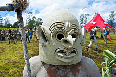 Mudman tribesman celebrating the traditional Sing Sing in the Highlands, Papua New Guinea, Pacific
