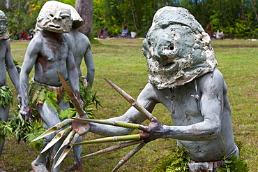 Mudman tribe celebrating the traditional Sing Sing in Paya  in the Highlands, Papua New Guinea, Melanesia, Pacific