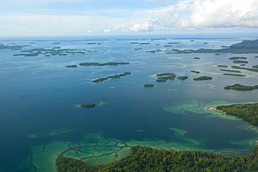 Aerial of the Marovo Lagoon, Solomon Islands, Pacific