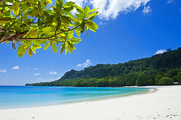 Turquoise water and white sand at the Champagne beach, Island of Espiritu Santo, Vanuatu, South Pacific, Pacific