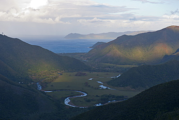 View over the east coast of Grande Terre, New Caledonia, Melanesia, South Pacific, Pacific