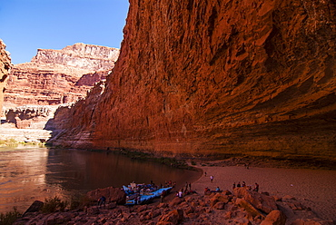 The Redwall Cavern, a giant cave in the walls of the Grand Canyon, seen while rafting down the Colorado River, Grand Canyon, Arizona, United States of America, North America