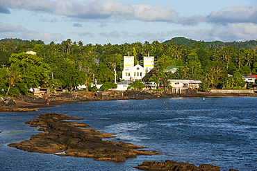 Church in the tropical surroundings, Tutuila Island, American Samoa, South Pacific, Pacific