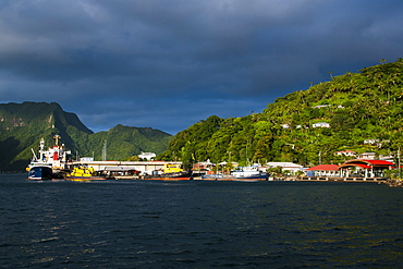 Sunset in the Pago Pago harbour, Tutuila island, American Samoa, South Pacific, Pacific