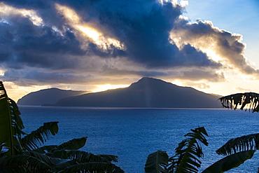 Sunset over Ofu Island, Manua Island group, American Samoa, South Pacific, Pacific