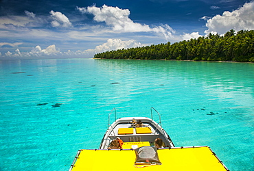 Yellow sundeck of a boat in the Ant Atoll, Pohnpei, Micronesia, Pacific