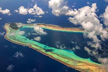 Aerial of the very beautiful Ant Atoll, Pohnpei, Micronesia, Pacific