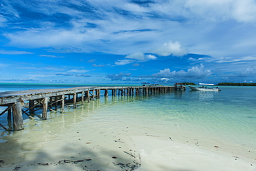 Boat pier on Carp island, one of the Rock islands, Palau, Central Pacific, Pacific