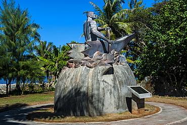 Bronze statue of a Chamorro chief, Guam, US Territory, Central Pacific, Pacific