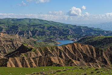 Green scenery around the Darbandikhan artificial lake on the border of Iran, Iraq Kurdistan, Iraq, Middle East