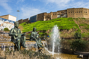 Statues and fountains below the citadel of Erbil (Hawler), capital of Iraq Kurdistan, Iraq, Middle East