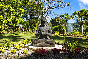 Buddhist statues in the Botanical gardens in Nevis island, St. Kitts and Nevis, Caribbean
