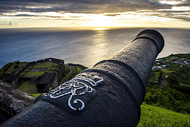 Sunset over  Brimstone Hill Fortress, UNESCO World Heritage Site, St. Kitts, St. Kitts and Nevis, Leeward Islands, West Indies, Caribbean, Central America