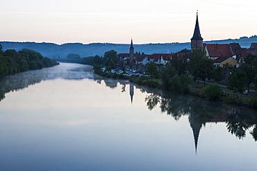 The town of Karlstadt in the Main valley in the morning, Franconia, Bavaria, Germany, Europe