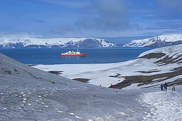 Cruise ship anchoring in the volcanic crater of Deception Island, South Shetland Islands, Antarctica, Polar Regions