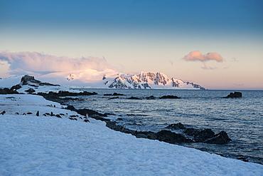 Sunset in Half Moon Bay, South Shetland Islands, Antarctica, Polar Regions