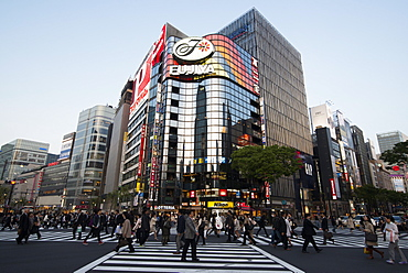 Crossing in front of the modern shopping centers in Ginza, Crossing in front of the modern shopping centers in Ginza, Tokyo, Japan, Asia