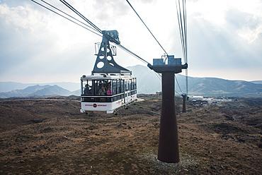 Aerial ropeway on Mount Aso, Kyushu, Japan, Asia