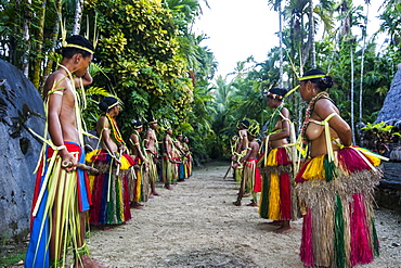 Stick dance from the tribal people of the island of Yap, Federated States of Micronesia, Caroline Islands, Pacific