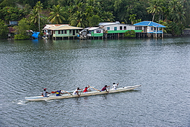 Local people training for the rowing championship on the island of Yap, Federated States of Micronesia, Caroline Islands, Pacific