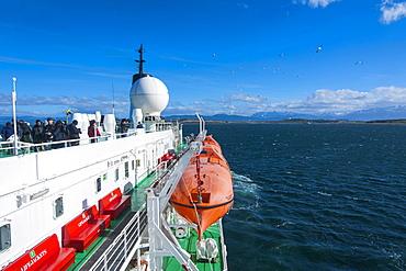 Cruise ship in the Beagle Channel, Ushuaia, Tierra del Fuego, Argentina, South America