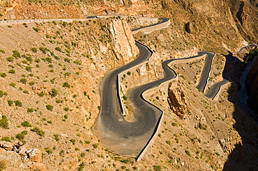 Zigzag road in the Dades Gorge, Atlas Mountains, Morocco, North Africa, Africa