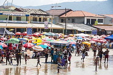 Very busy beach in Barra da Lagoa, Brazil, South America