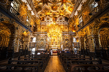 Interior of the Saint Francisco Church in the Pelourinho, UNESCO World Heritage Site, Salvador da Bahia, Bahia, Brazil, South America
