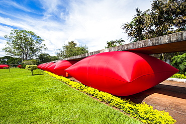 Inflated red pillows as modern art in Brasilia, Brazil, South America