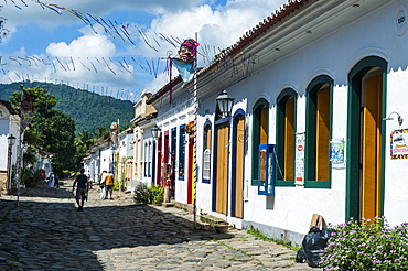 Colourful colonial houses in Paraty, south of Rio de Janeiro, Brazil, South America