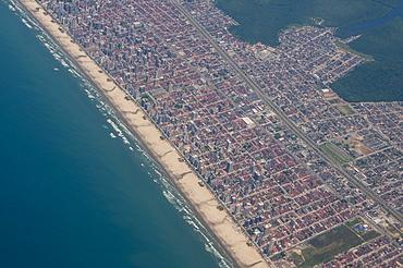 Aerial of the beach of Mongagua near Sao Paulo, Brazil, South America