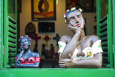 Traditional puppets in a window in Sao Joao del Rei, Minas Gerais, Brazil, South America
