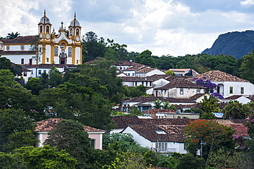 View over the historical town of Tiradentes, Minas Gerais, Brazil, South America