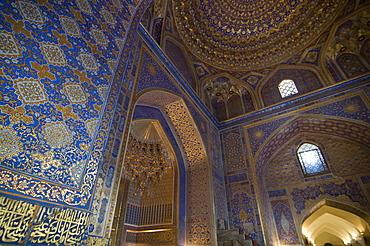 Interior of Tilla Kari Medressa at the Registan, UNESCO World Heritage Site, Samarkand, Uzbekistan, Central Asia