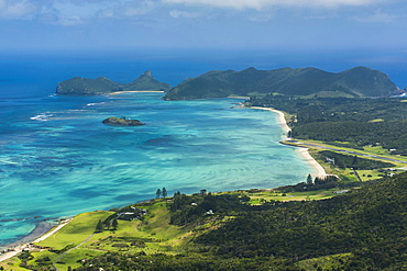 View from Mount Lidgbird over Lord Howe Island, UNESCO World Heritage Site, Australia, Tasman Sea, Pacific