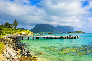 View of pier with Mount Lidgbird and Mount Gower in the background, Lord Howe Island, UNESCO World Heritage Site, Australia, Tasman Sea, Pacific