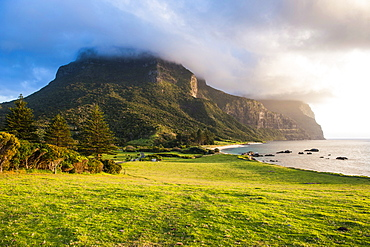 Mount Lidgbird and Mount Gower at sunset, Lord Howe Island, UNESCO World Heritage Site, Australia, Tasman Sea, Pacific